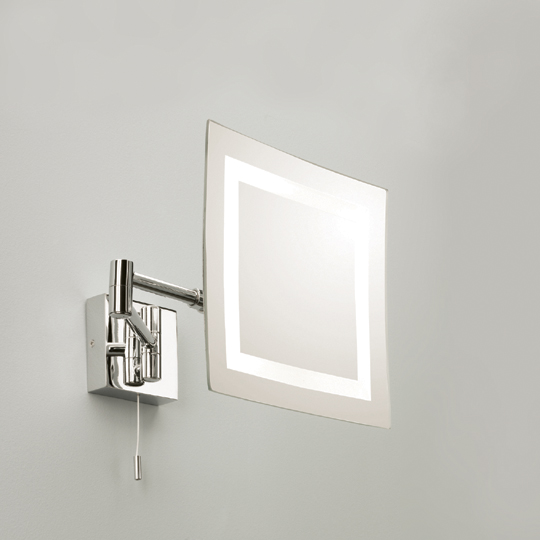 Torino 1x25W G9 nöörlülitiga valgustatud reguleeritav peegel, niiskuskindel IP44, valgusallikas komplektis