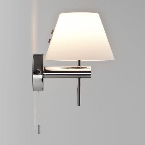 Roma Switched Max 40W G9 IP44 vannitoavalgusti, nöörlülitiga, hämardatav, poleeritud kroom, klaasist hajuti