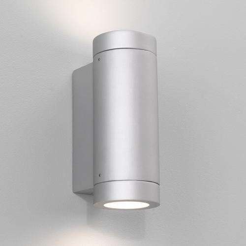 Porto Plus 2x7W GU10 värvitud hõbe valgusallikad komplektis, välisvalgusti seinale