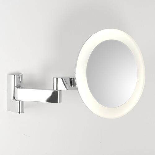Niimi Round LED 5,2W 3000K IP44 5x suurendusega reguleeritav valgustusega peegel, lülitiga, poleeritud kroom