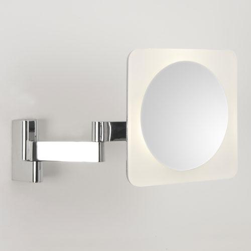Niimi Square LED, 5x suurendusega reguleeritav peegel-valgusti vannituppa, 5,7W LED 230V, 145lm, niiskuskindel IP44, LED liiteseade komplektis, lülitiga