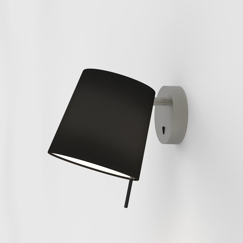 Mitsu Wall Max 12W E27 LED IP20 seinavalgusti, lülitiga, matt nikkel, ilma varjuta (tellida eraldi), mõõdud koos varjuga