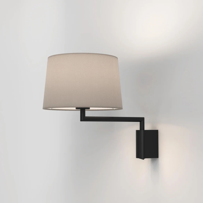 Telegraph Swing Max 12W E27 LED IP20 seinavalgusti, hämardatav, matt must, ilma varjuta (tellida eraldi), mõõdud koos varjuga