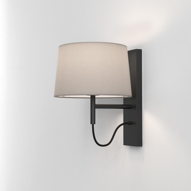 Telegraph Wall Max 12W E27 LED IP20 seinavalgusti, hämardatav, matt must, ilma varjuta (tellida eraldi), mõõdud koos varjuga