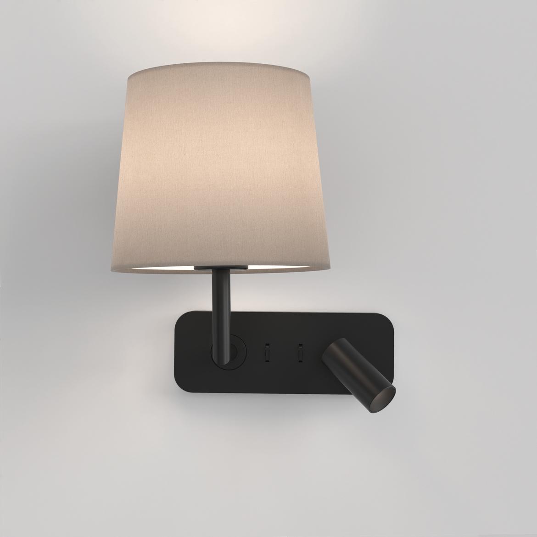 Side By Side Max 12W E27 LED + 4,1W 149lm 2700K CRI90 IP20 seinavalgusti, lülitiga, matt must, ilma varjuta (tellida eraldi), mõõdud ilma varjuta
