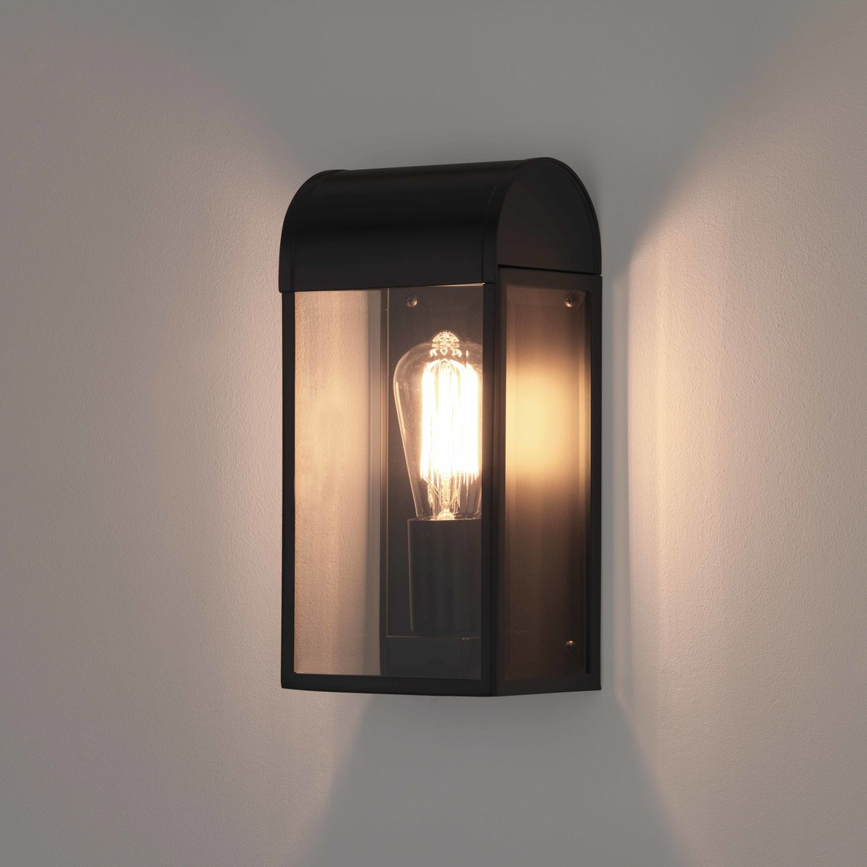 Newbury Max 60W E27 IP44 seinavalgusti, hämardatav, must, klaasist hajuti