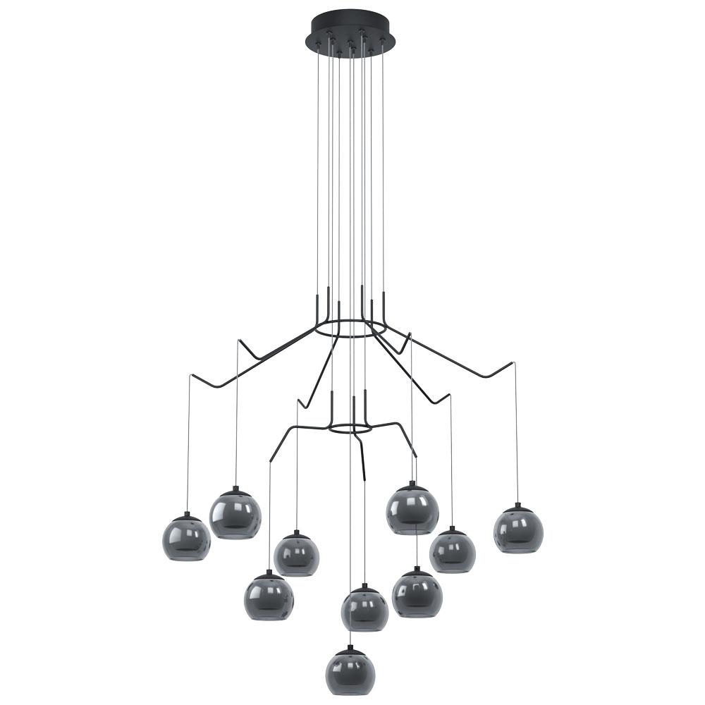 Rippvalgusti ROVIGANA LED 10x3,3W 10x340lm 3000K hämardatav; metall, must / suitsuklaas opaal valge