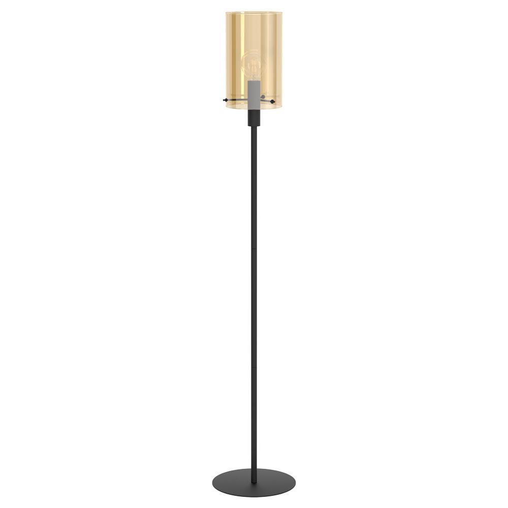Rippvalgusti POLVERARA 1x E27 metall, must / klaas, merevaigukollane