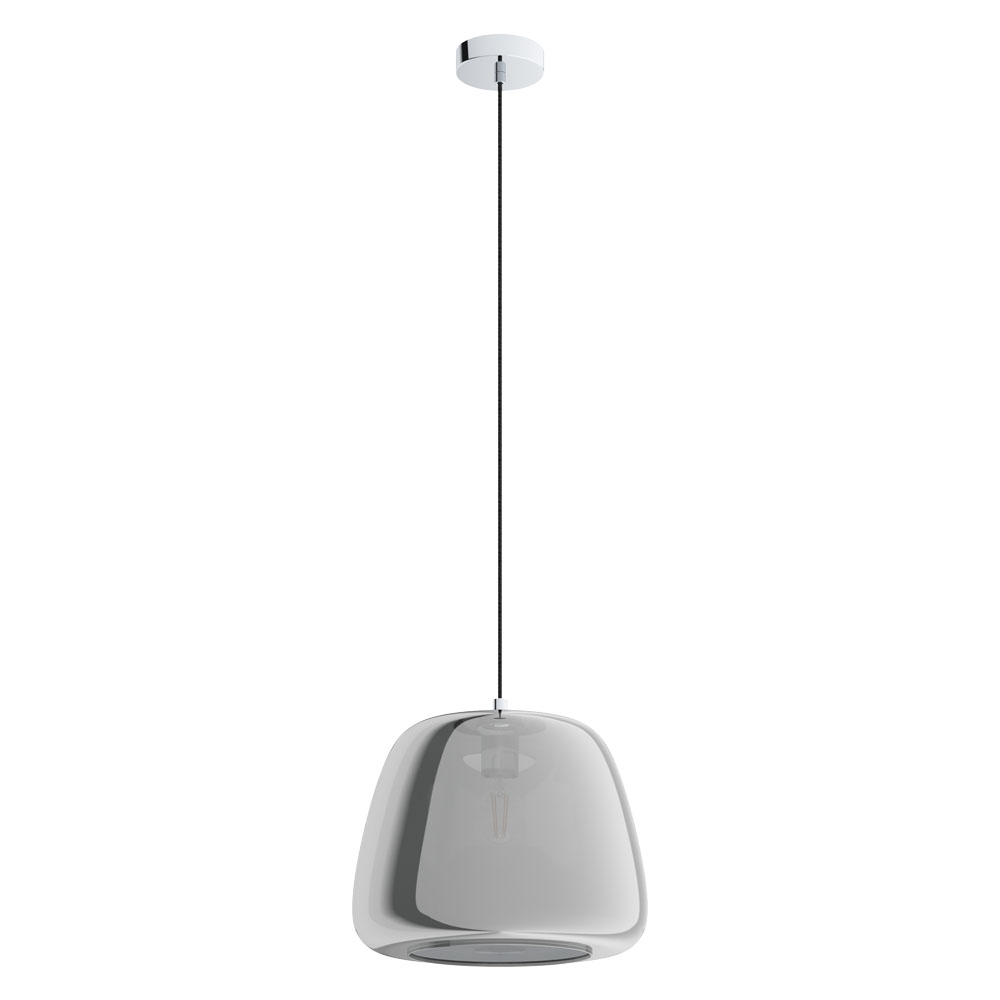 Rippvalgusti ALBARINO 1x E27 metall, kroom / klaas, läbipaistev must