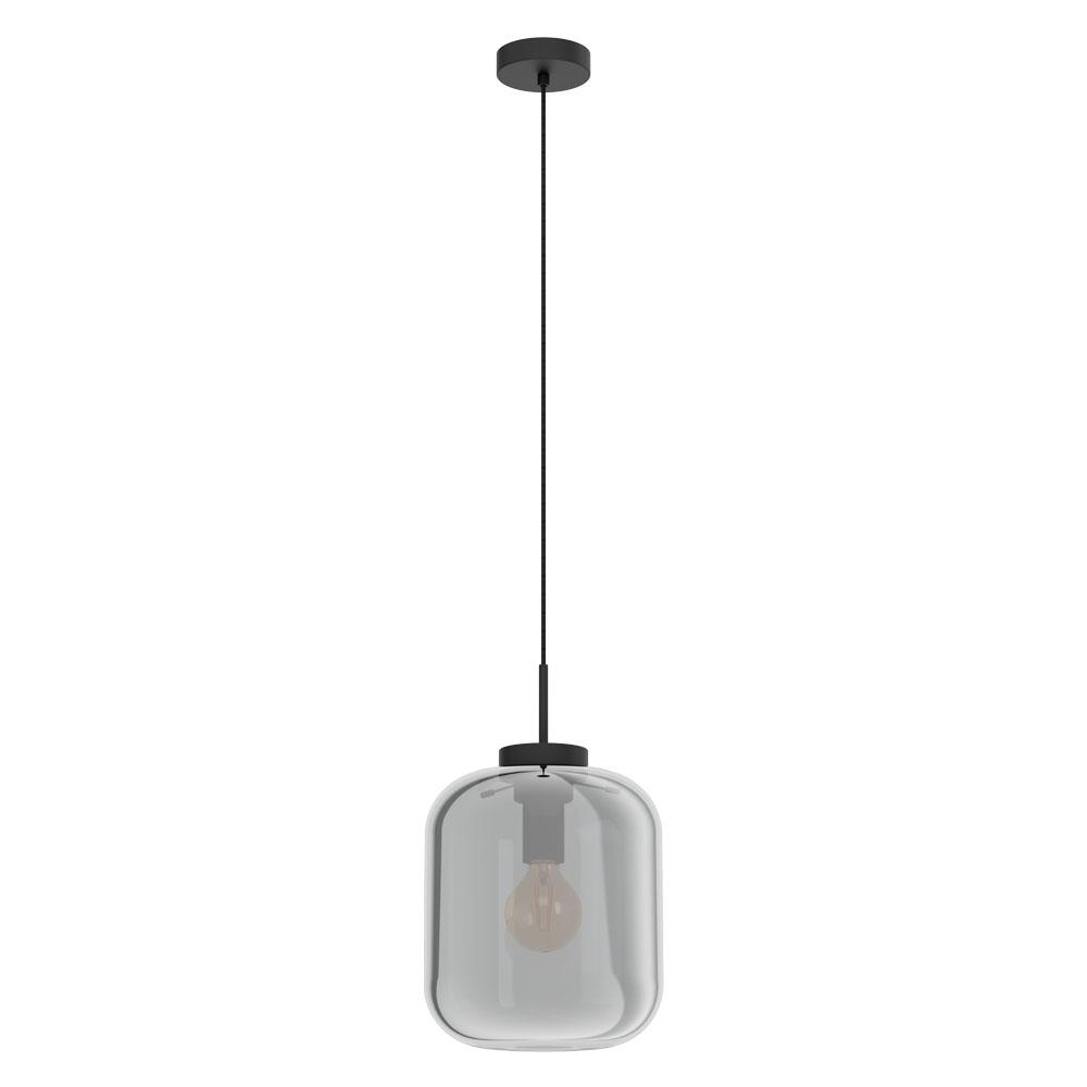 Rippvalgusti BULCIAGO 1x E27 metall, must / klaas, läbipaistev must