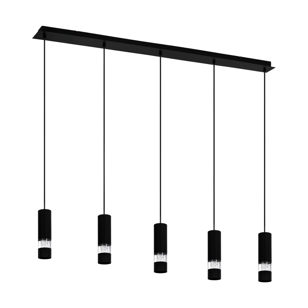 Rippvalgusti BERNABETA 5x GU10 metall, must / plastik, läbipaistev
