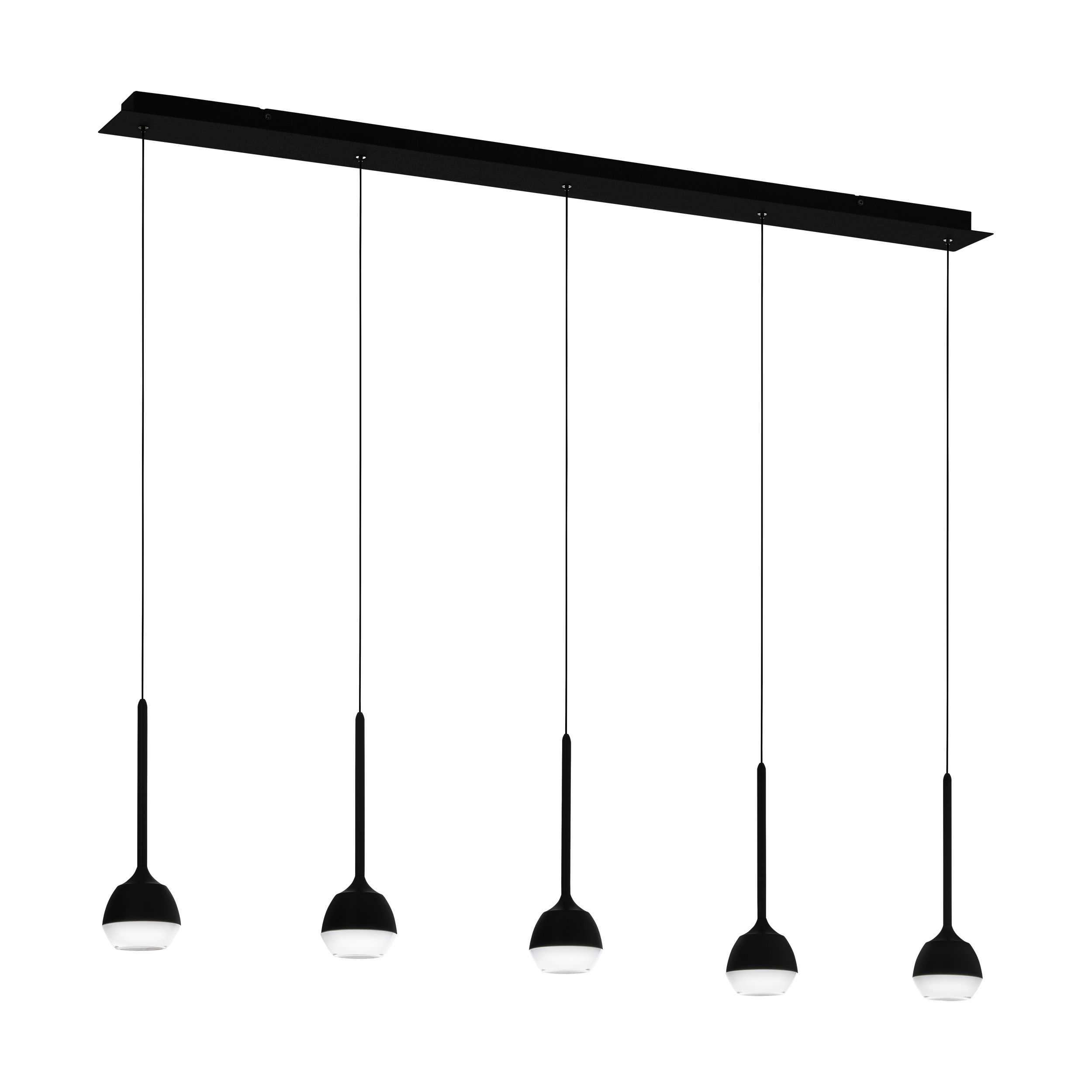 Rippvalgusti NUCETTO LED 5x4,5W 5x530lm hämardatav; metall, must