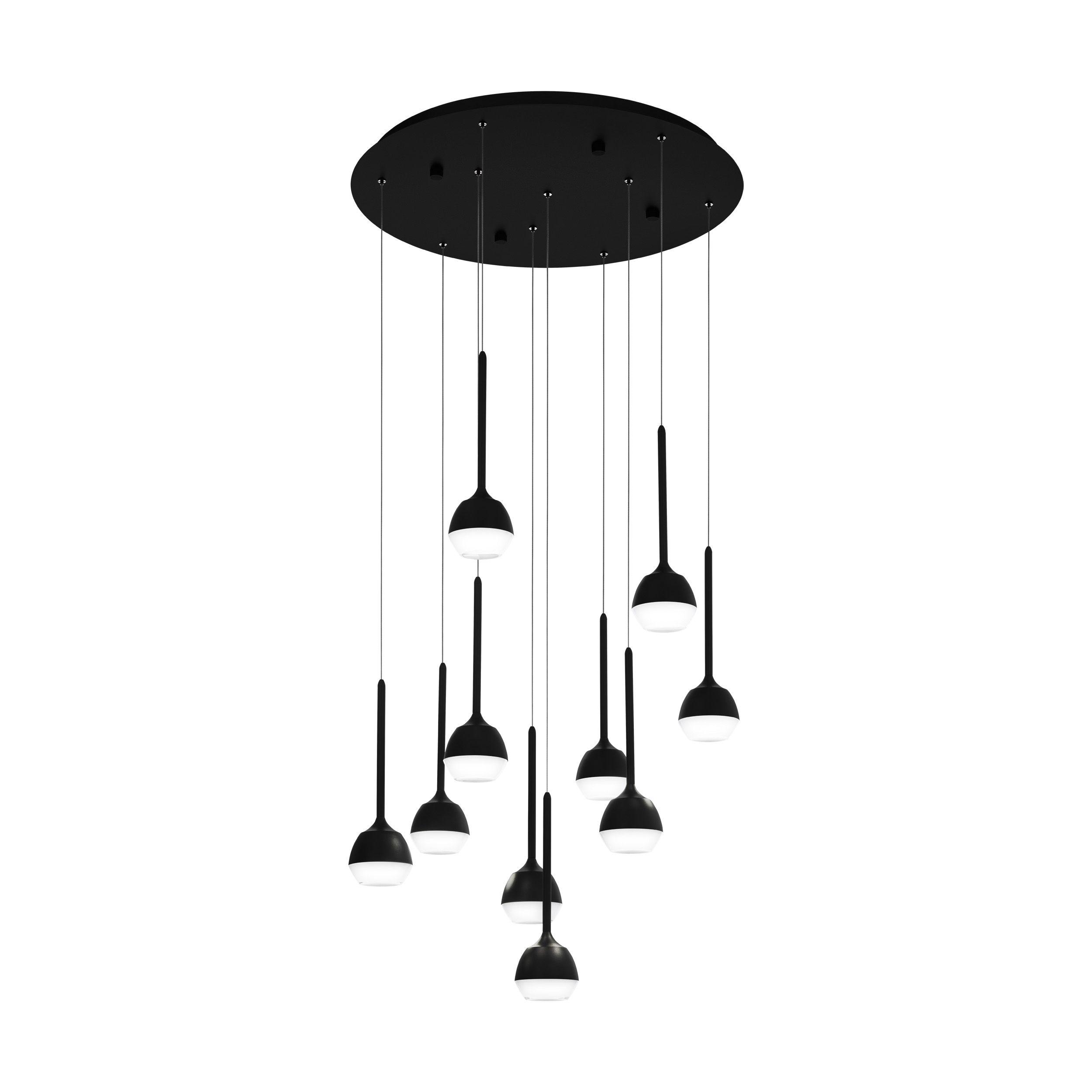 Rippvalgusti NUCETTO LED 10x4,5W 10x530lm hämardatav; metall, must