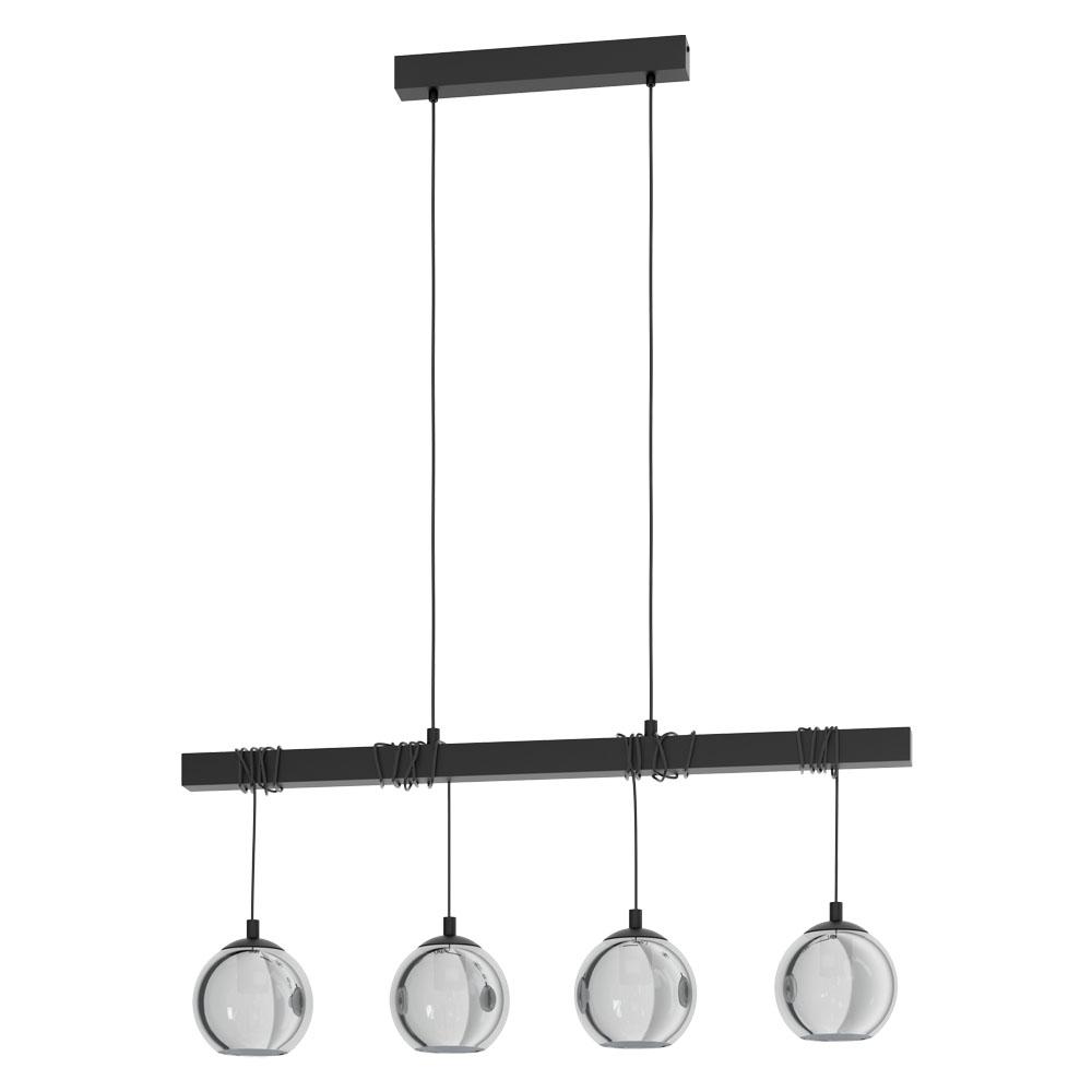 Rippvalgusti ARGALLO 4x E27 metall, must / klaas, läbipaistev must