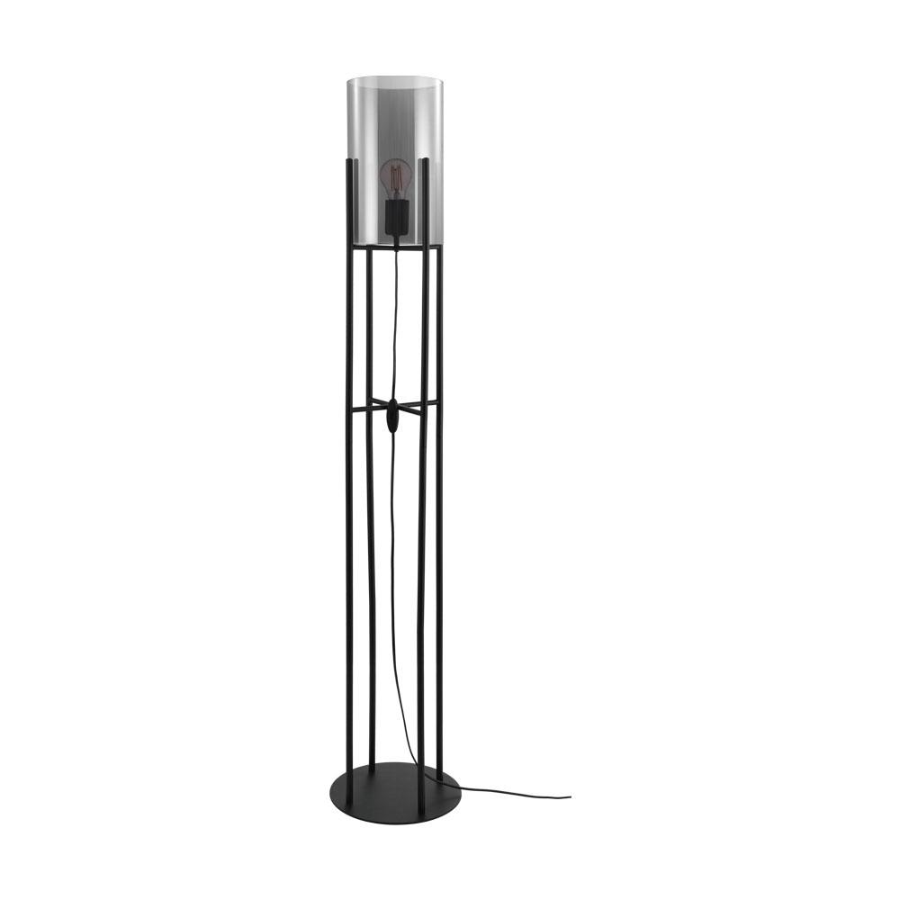 Põrandavalgusti GLASTONBURY 1x E27 metall, must / klaas, läbipaistev must