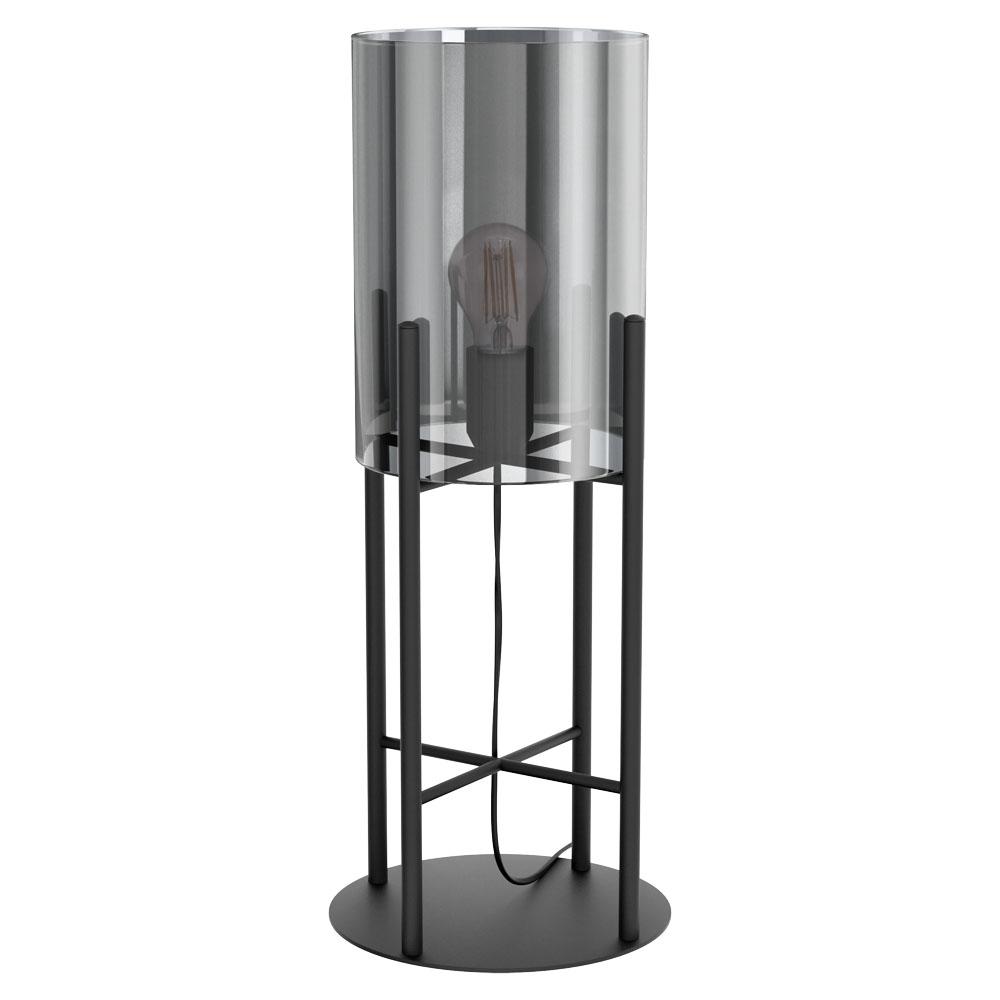 Lauavalgusti GLASTONBURY 1x E27 metall, must / klaas, läbipaistev must