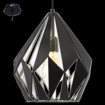 Rippvalgusti CARLTON1, max. 60W E27, metall, must-hõbedane