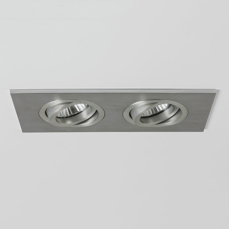 Taro Square Twin Adjustable 2x Max 50W GU10 IP20 tulekindel süvisvalgusti, hämardatav, harjatud alumiinium