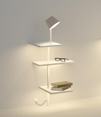 Vibia+Suite LED 1281lm, riiulite ja suunatav valgus eraldi lülitatav, dimmerdatav, USB laadija pesa