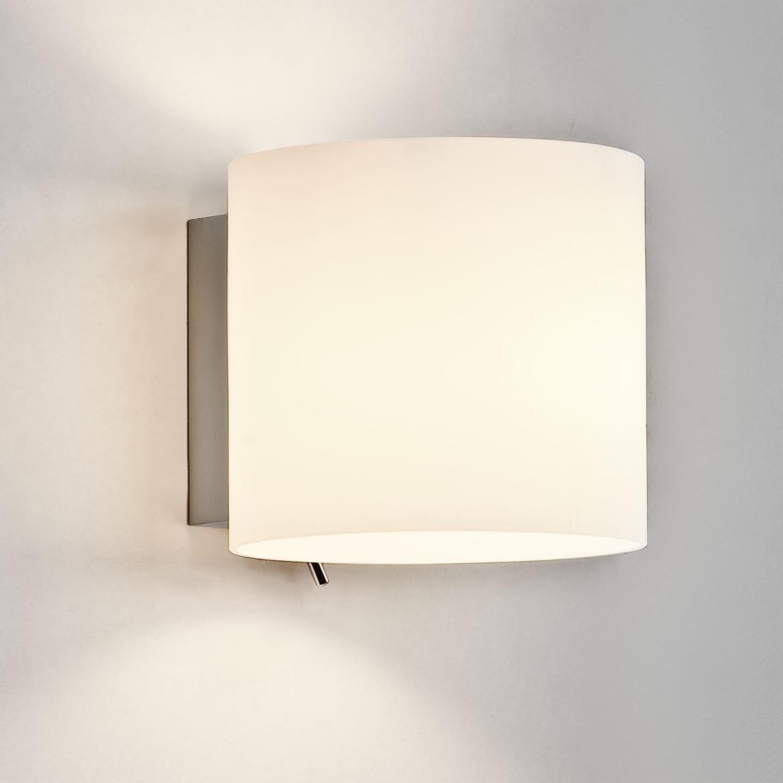 Luga Max 60W E14 IP20 seinavalgusti, hämardatav, lülitiga, hõbe, klaasist hajuti