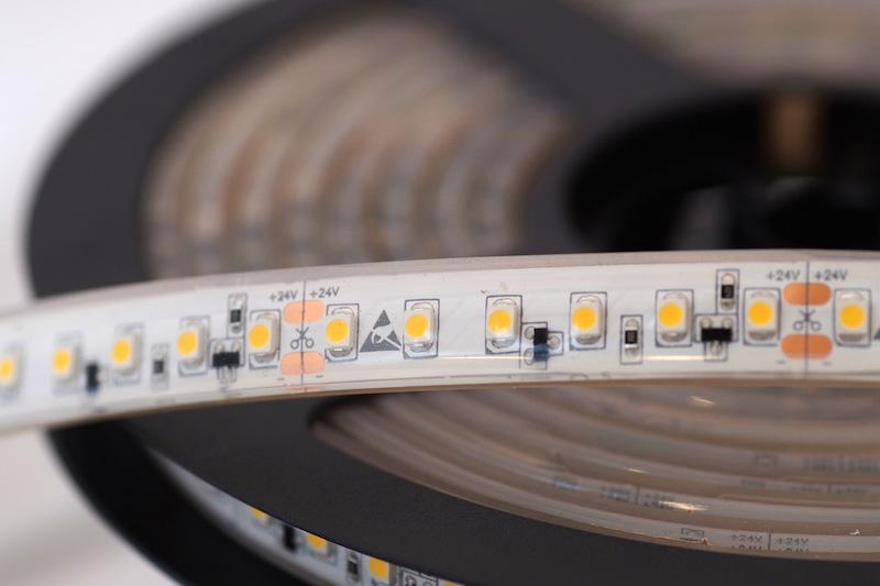 LED riba 120LED/m, 9,6W(840lm)/m, L=5m, 10mm, soevalge 3000K, IP68, CC(püsivooluga), 24VDC, CRI90