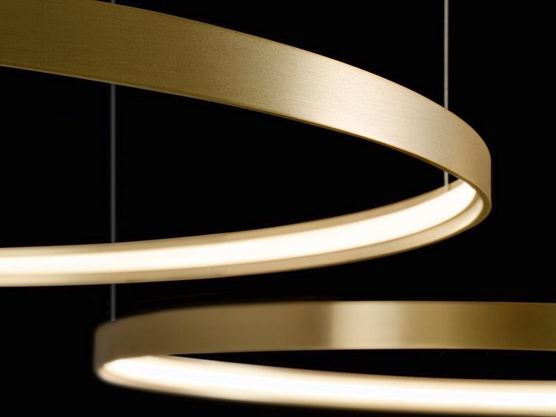 Rippvalgusti ZERO ROUND Ø 500mm LED 27W 2474lm 2700K, alumiinium, matt messing