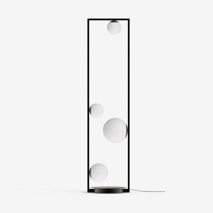Põrandavalgusti Pala floor LED 21W 2546lm 3000K H=1400mm; metall, must, messing / klaas, opaal