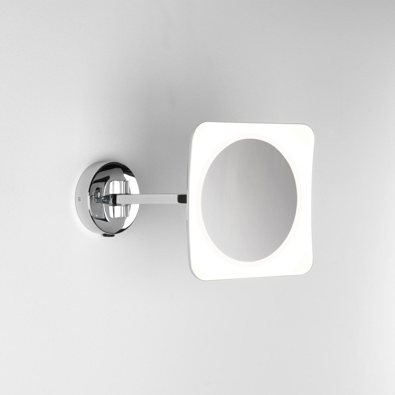Mascali Square LED 6,1W 153lm 2700K IP44 5x suurendusega reguleeritav valgustusega peegel, lülitiga, poleeritud kroom