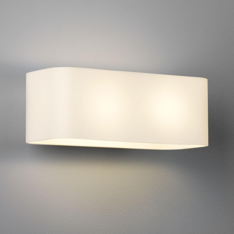 Obround Max 2x 40W E14 IP20 seinavalgusti, hämardatav, hõbe, klaasist hajuti