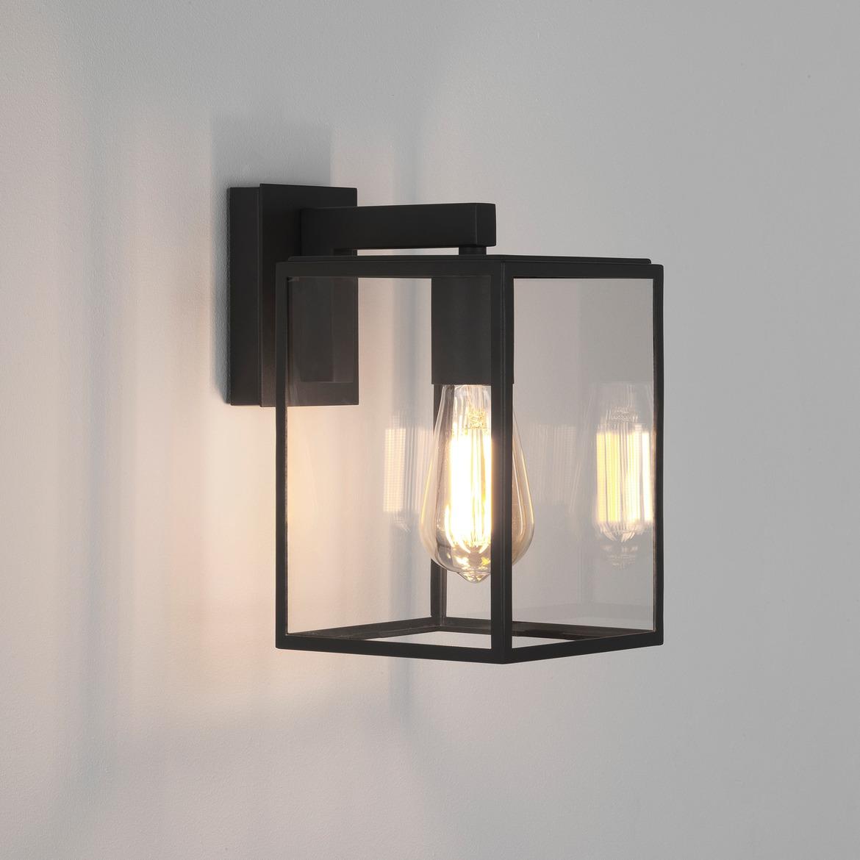 Box Lantern 270 Max 60W E27 IP23 seinavalgusti, hämardatav, must, klaasist hajuti