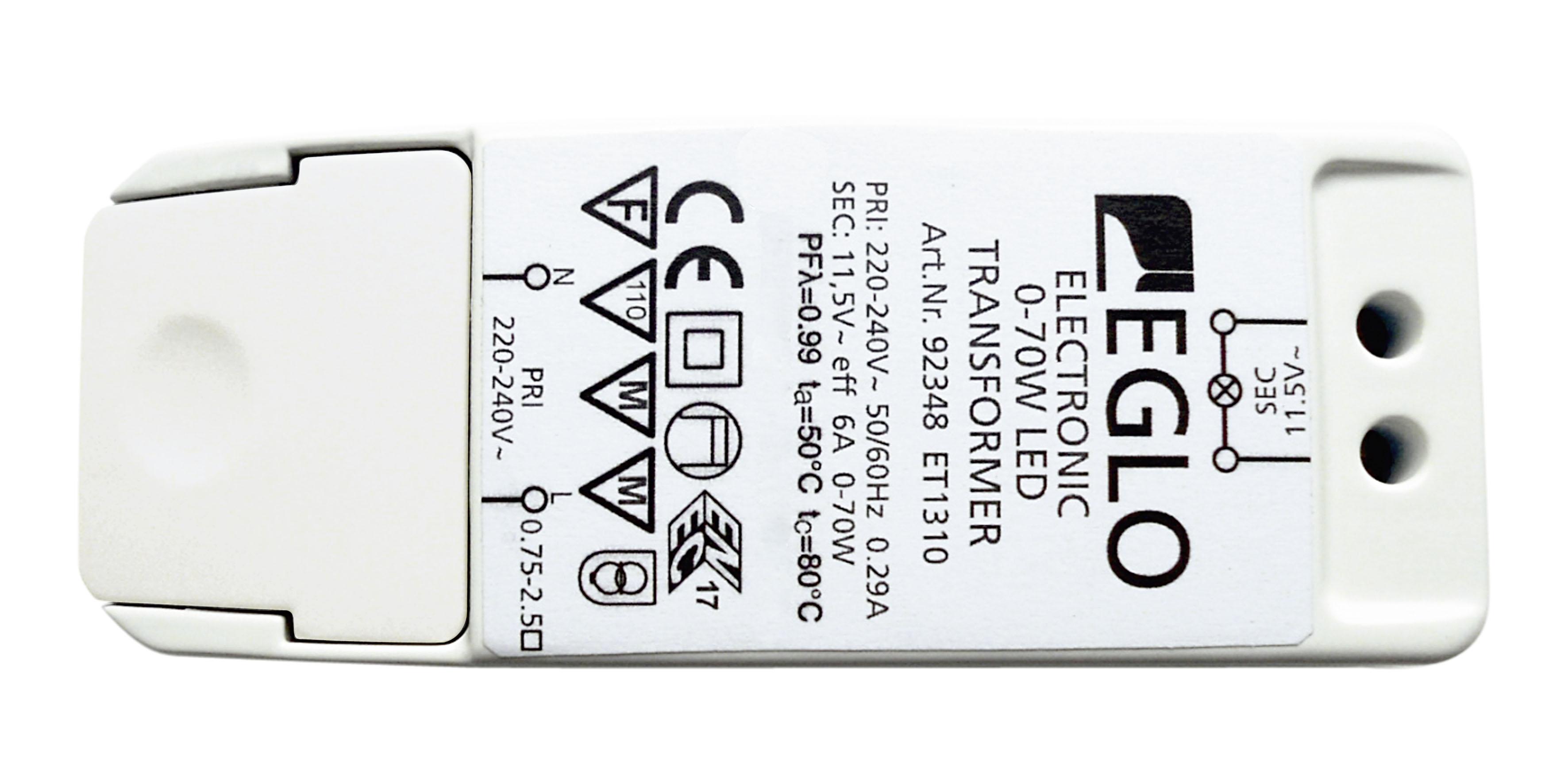 Toiteplokk 11,5V AC 0-70W halogeenlampidele, 0-40W LED lampidele 113x44x28mm