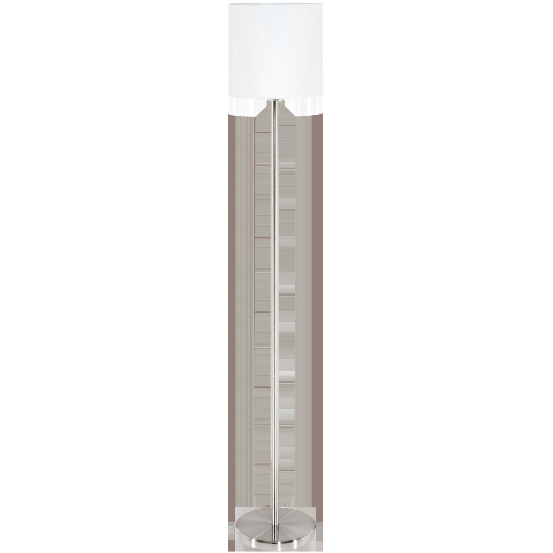 Pasteri, max. 60W E27; metall, satiin nikkel / tekstiil, valge ( Ø 280mm, kõrgus 1575mm )