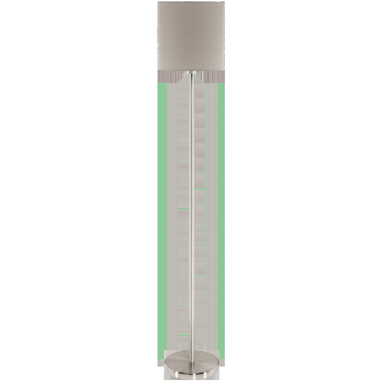 Pasteri, max. 60W E27; metall, satiin nikkel / tekstiil, pruunikashall ( Ø 280mm, kõrgus 1575mm )