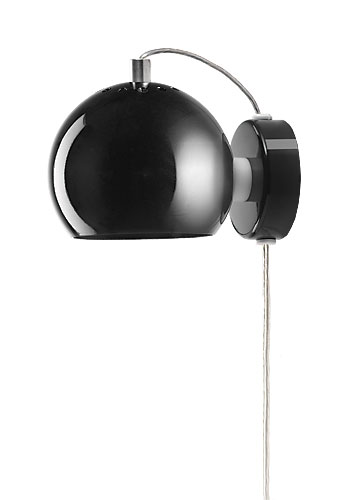 BALL 30W E14/R39 must (läikiv) seinavalgusti magnetiga, d=12cm, lüliti läbipaistval juhtmel