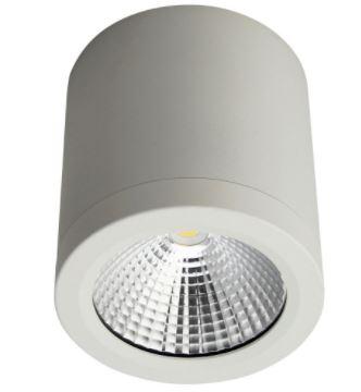 Pinnapealne allvalgusti LED 10W 700lm 3000K 60° CRI80, matt valge, 230V, dim. IP54, h=100mm, ¤90mm