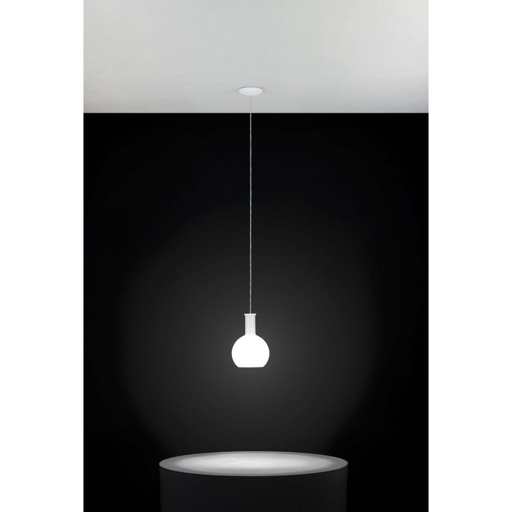 Rippvalgusti PASCOA 1x60W E27, metall, valge / valge opaalklaas