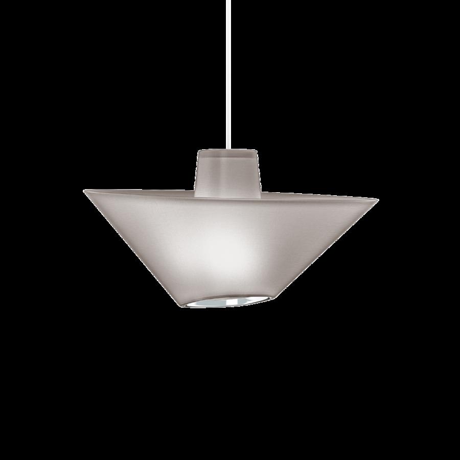 REVER 1.0 Max 15W E27 LED IP20 rippvalgusti, hall, valge juhe, kroom serv