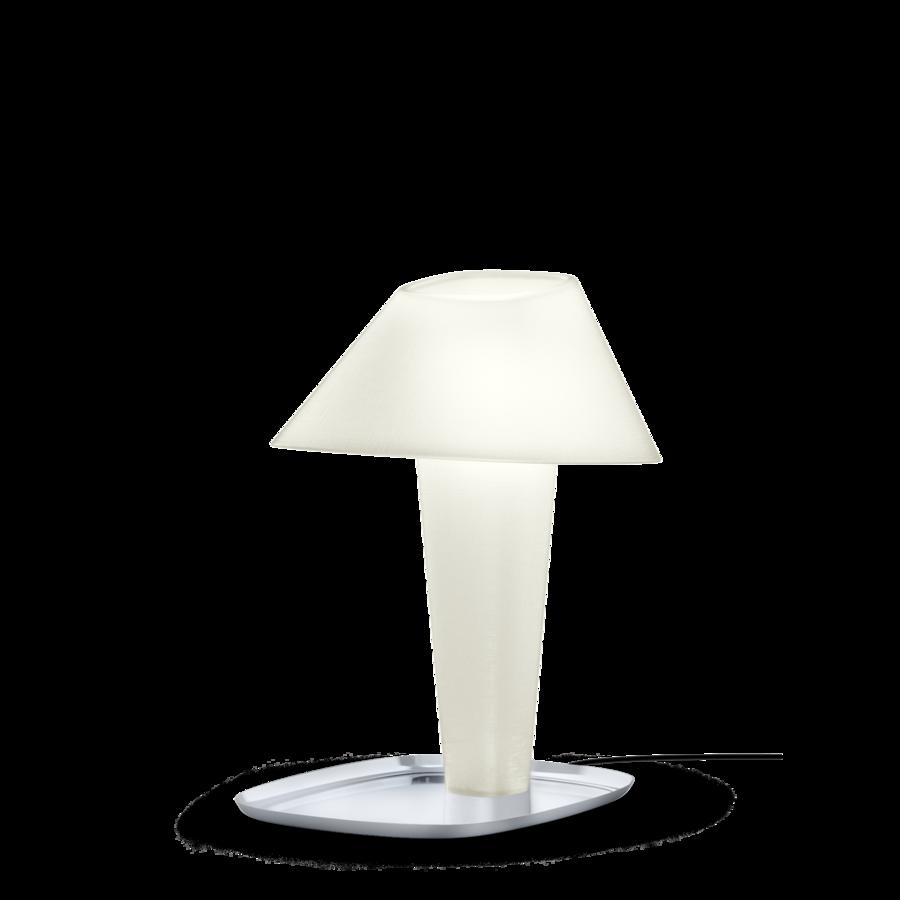 REVER TABLE 1.0 Max 12W E27 LED IP20 lauavalgusti, valge, kroom alus, must juhe hämarduslülitiga