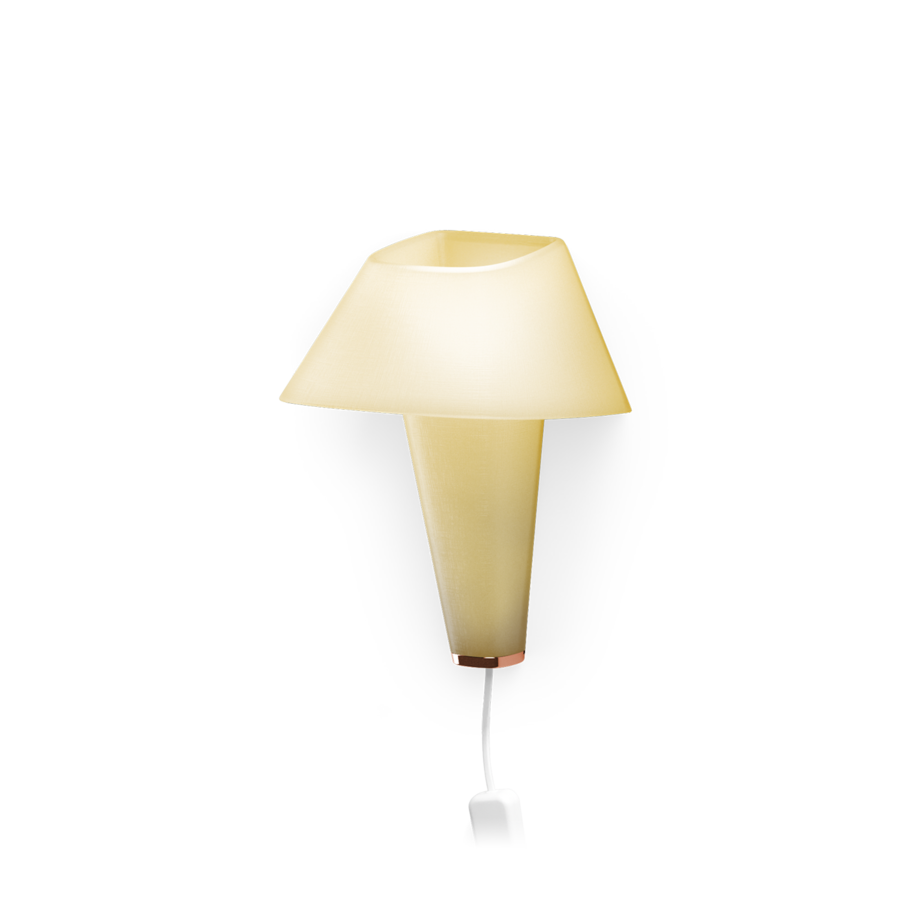 REVER WALL 2.1 Max 6W E14 LED IP20 seinavalgusti, kollane, valge juhe pistiku ja hämarduslülitiga, vask detail