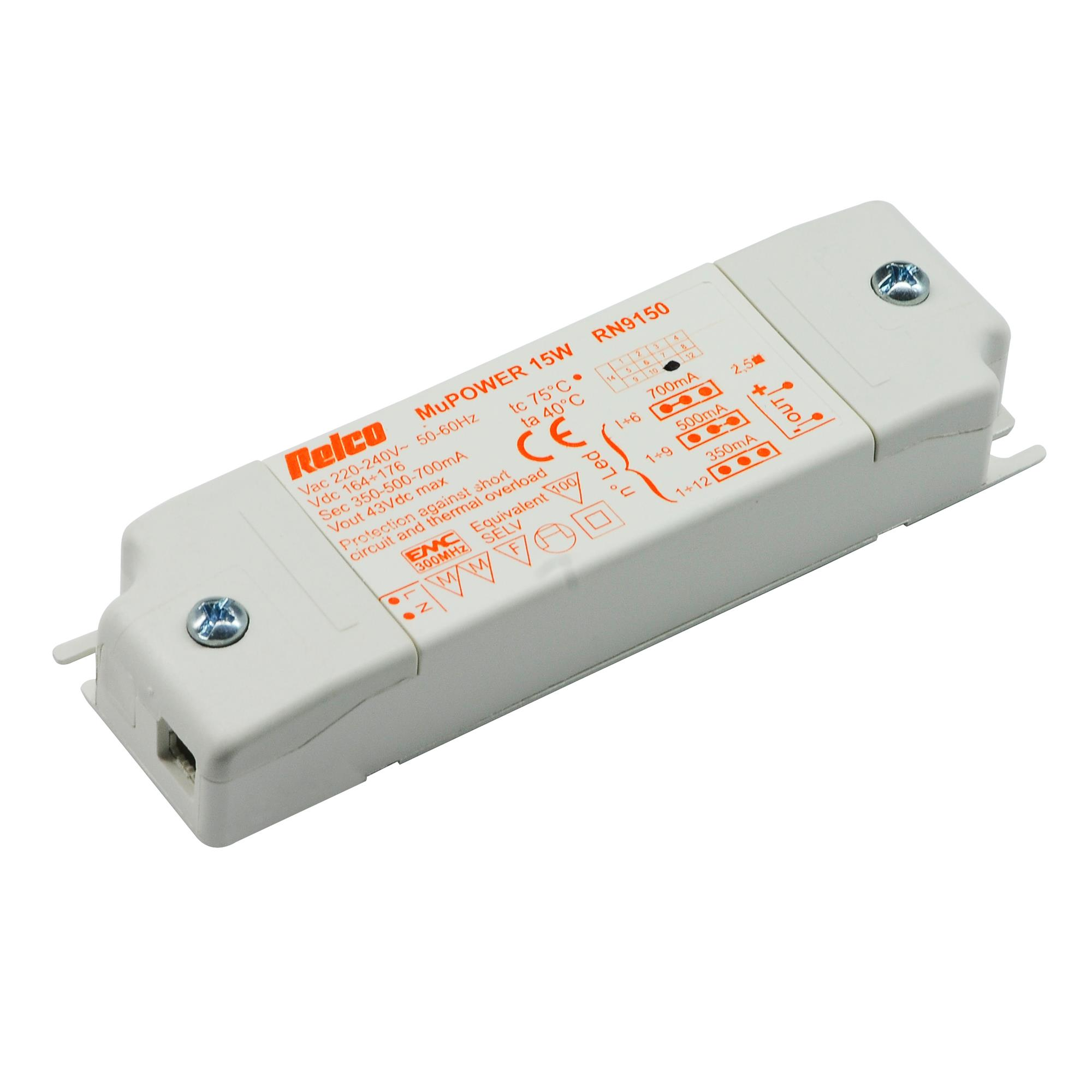 POWERLED driver 15W 350/500/700mA, 115x35x20mm