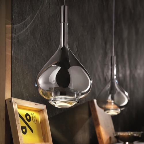 Rippvalgusti SKY-FALL LED 2 x 10W 1815lm 2700K CRI95, metall, kroom / puhutud klaas, kroom