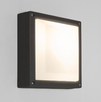 ARTA Square 210 12W E27 CFL, must, välisvalgusti seinale/lakke