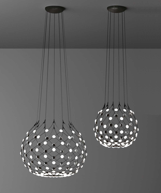 Rippvalgusti Mesh Ø80cm, LED 53W 2700K, hämardatav; metall, must / polükarbonaadist hajutid. Eraldi tellida riputussüsteem art.1D860/T18001 või art.1D860/T58001.