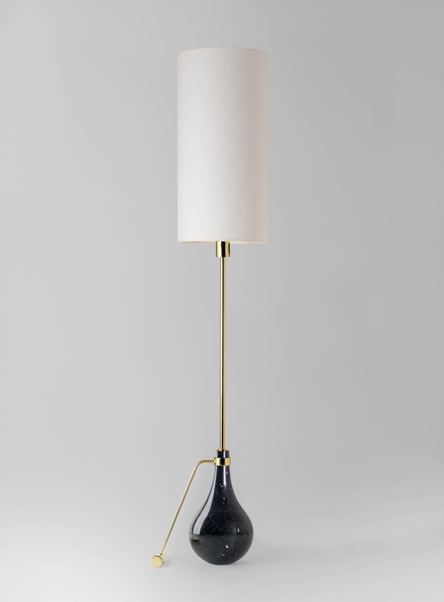 Põrandavalgusti EVA P, 70W E27, must marmor. Tekstiilist kuppel art. 870382500.