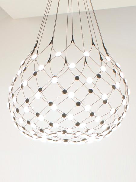MESH D86C rippvalgusti, LED 65W, 2700K, 3252 lm, hämardatav, must/ must, 100x190cm